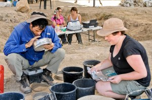 Yotam Adi Francesca and Brianna doing microarchaeology in the field