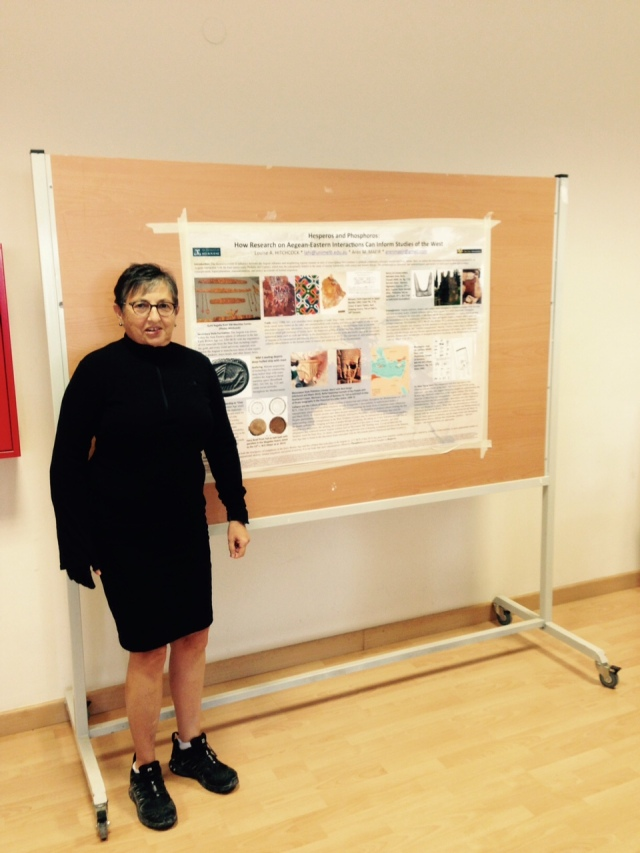 Louise at Hesperos next to Poster may 2016